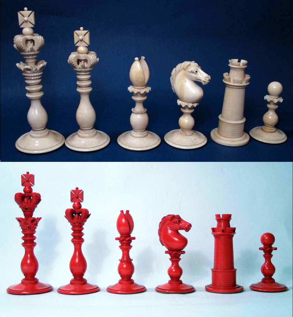 Calvert pattern ivory decorative chess set - Ornate chess sets ...