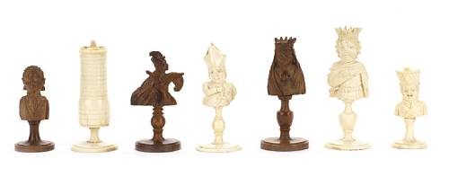 Dieppe Bone and Coquilla Nut Chess Set , circa 1810