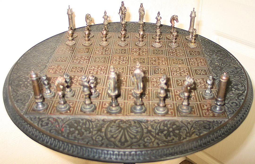 Zimmermann Matching Cast-Iron Set and Chess Table, circa 1850
