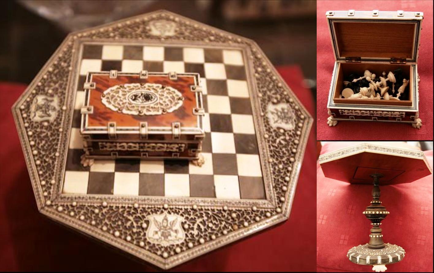 & Miniature Vizagapatham Chess Set Table and Box