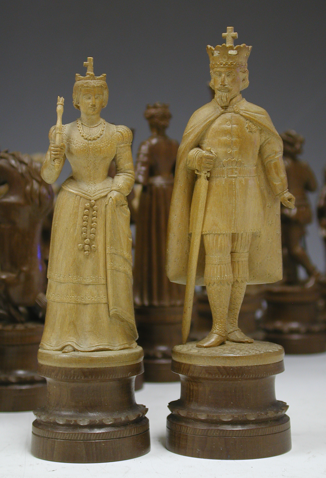 German Charlemagne Wooden Figural Set - King and Queen